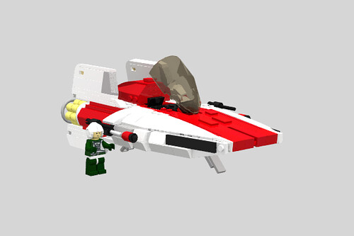 Incom RZ-1 A-Wing Interceptorm, Cockpit Open, with Pilot.