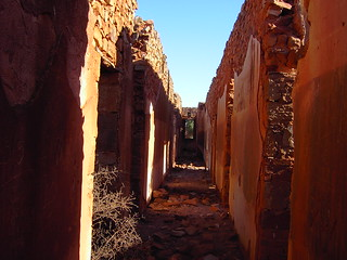 Lancelot ghost town in South Australia. The long ruined corridor in the hotel. Nine rooms lead off this corridor.