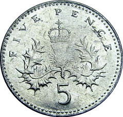 British 2005 5 pence struck on aluminum planchet reverse