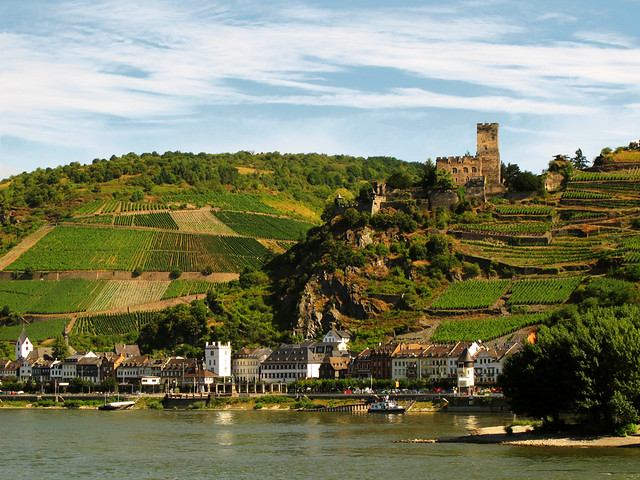 Kaub and Castle Gutenfels on the Rhine, Germany