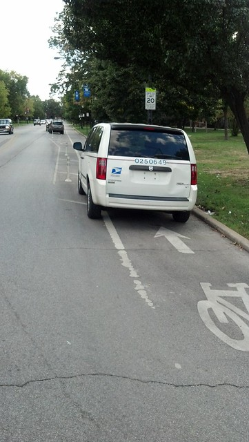 Blocking the Marshall Boulevard bike lane