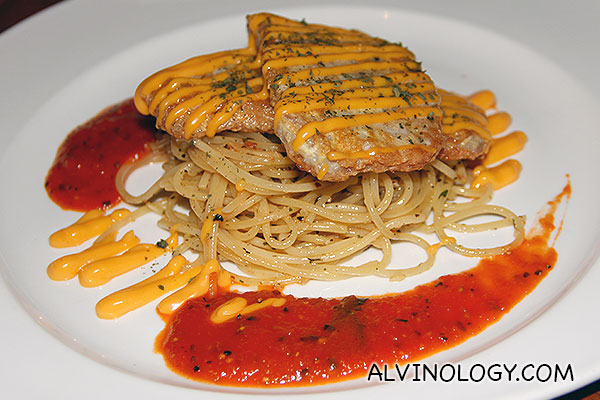 Piccata of Pork (S$18) - pan-fried parmesan battered pork loin topped with cheese sauce, served with spaghetti