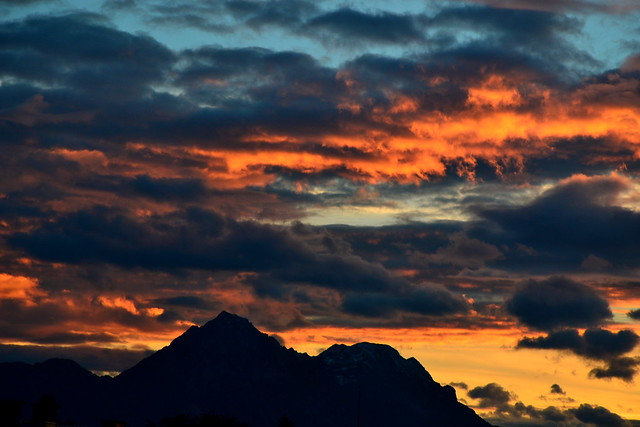 Fiery sunset over Hochstaufen and Zwiesel