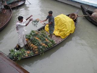 Selling pineapples from a boat on the river, Bangladesh 2008. Photo: AusAID