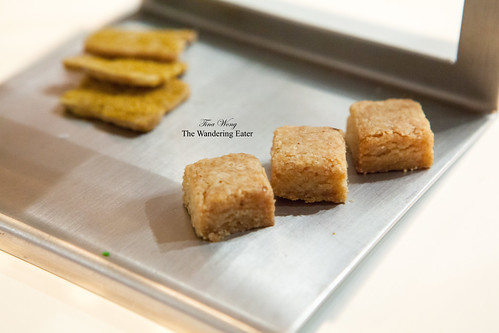Lower level of petit fours - Salted butter shortbread (thick squares) and Peanut and curry cookies (thin squares in back)