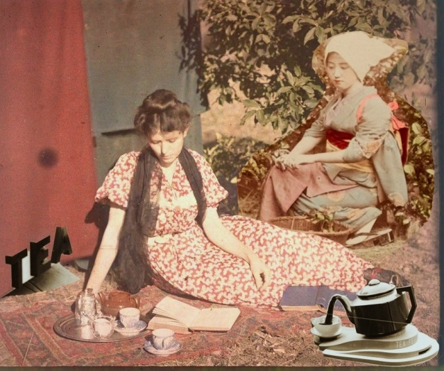 Vintage Two-Lady Tea Party Collage
