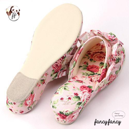 42.春暖花開甜美玫瑰低跟拖鞋(日本製)-粉紅2