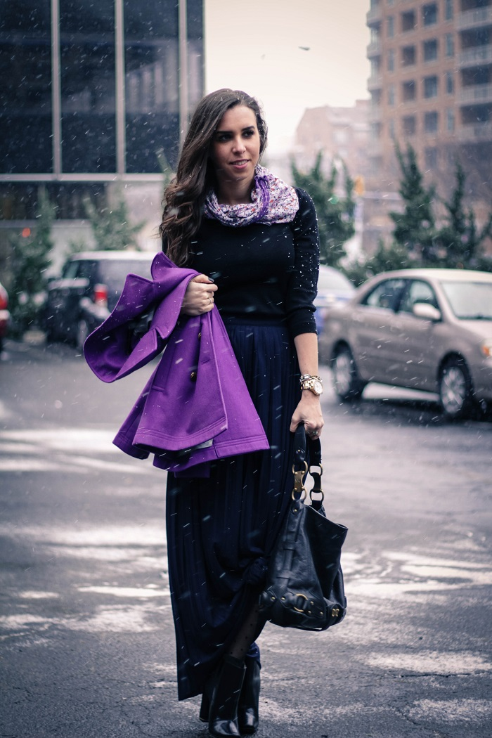 va darling. jcrew purple pea coat. jcrew long navy pleated jersey maxi skirt. dvf booties. reflective ray bans. brunch outfit. dc blogger. 2
