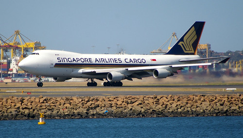 Singapore Airlines Cargo's Boeing 747-412F, 9V-SFO, taking off from Sydney Airport