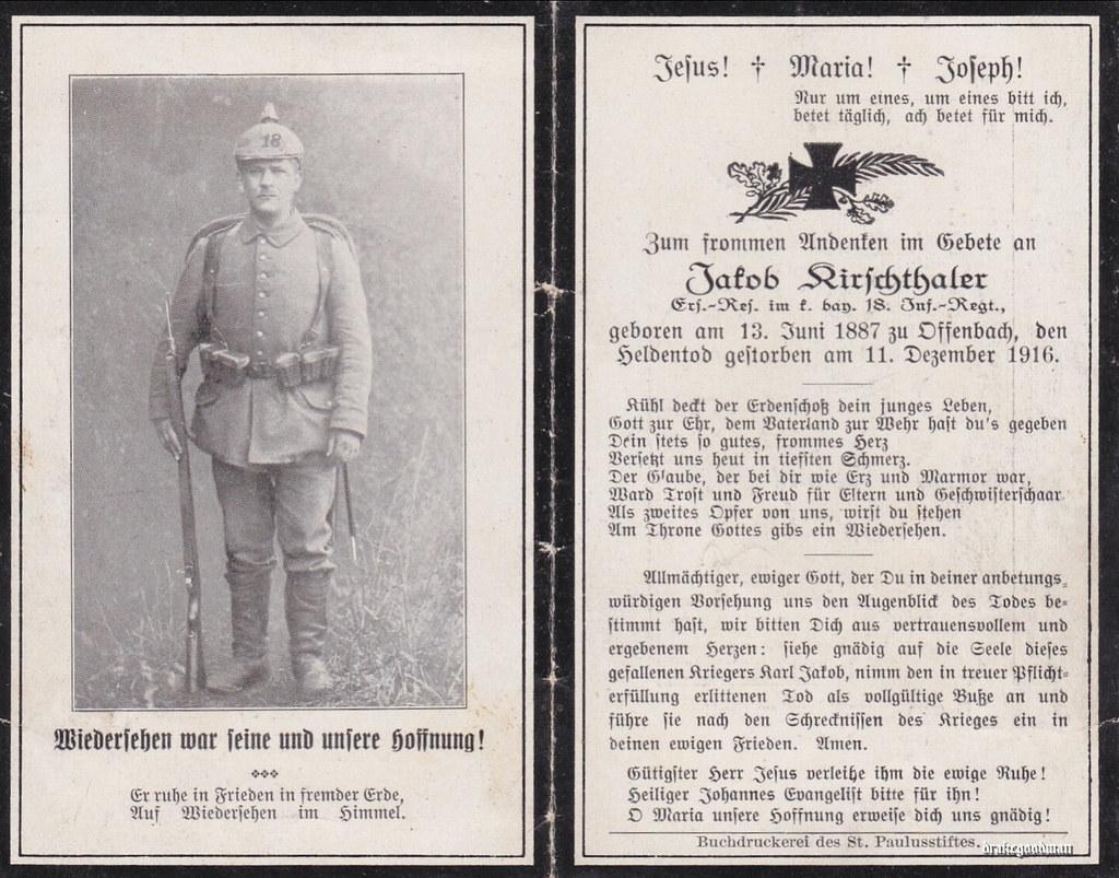 Sterbebild for jakob kirschthaler ersatz reserve der bayer 18 infanterie regiment