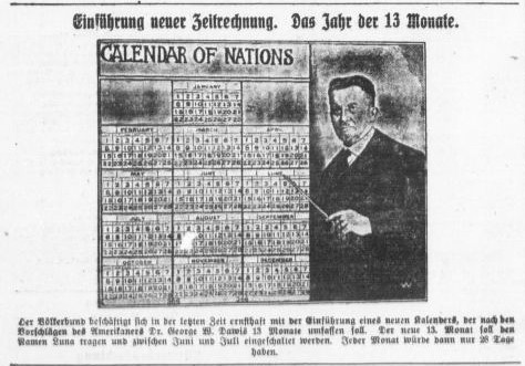 "Altonaer Nachrichten, 22.2.1926: A new ""calendar of nations"" with 13 months, proposed by Prof. George W. Dawis from the US, initiated by the League of Nations."