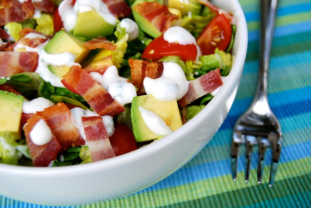 Bacon, Lettuce, Tomato & Avocado Chopped Salad with Homemade Skinny Buttermilk Ranch Dressing | www.rachelphipps.com @rachelphipps