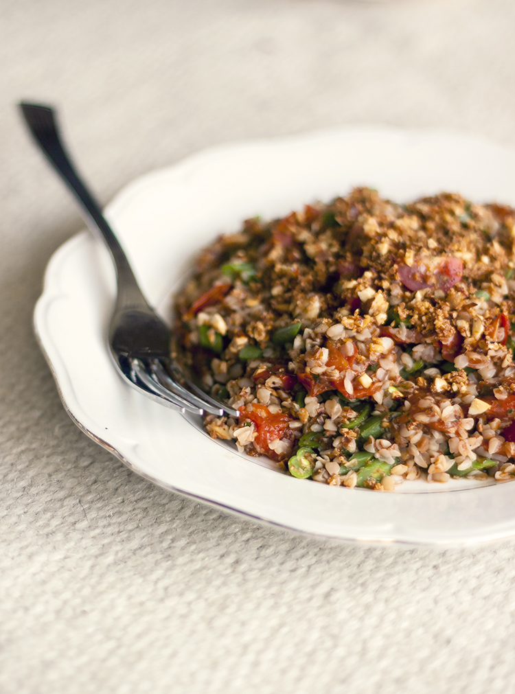 Green Bean and Buckwheat Salad with Roasted Tomato Sauce