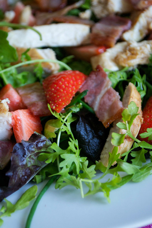 strawberry bacon chicken persian watercress salad