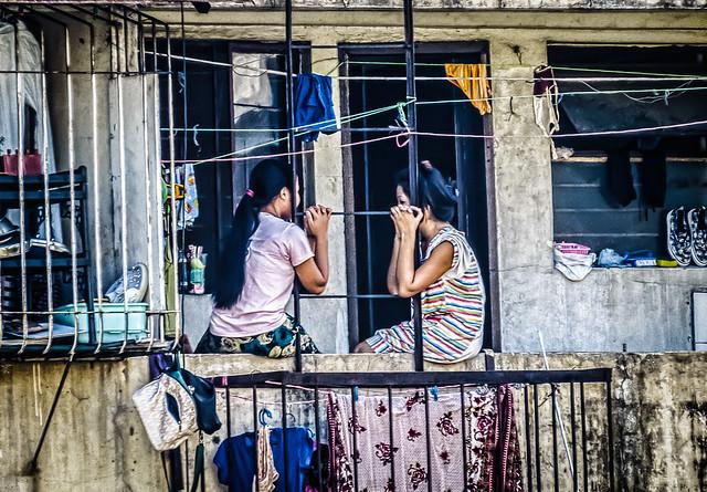 Conversation on the balcony