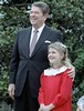 Reagan with Drew Barrymore at a ceremony launching the Young Astronauts program on the South Lawn, 10/17/1984