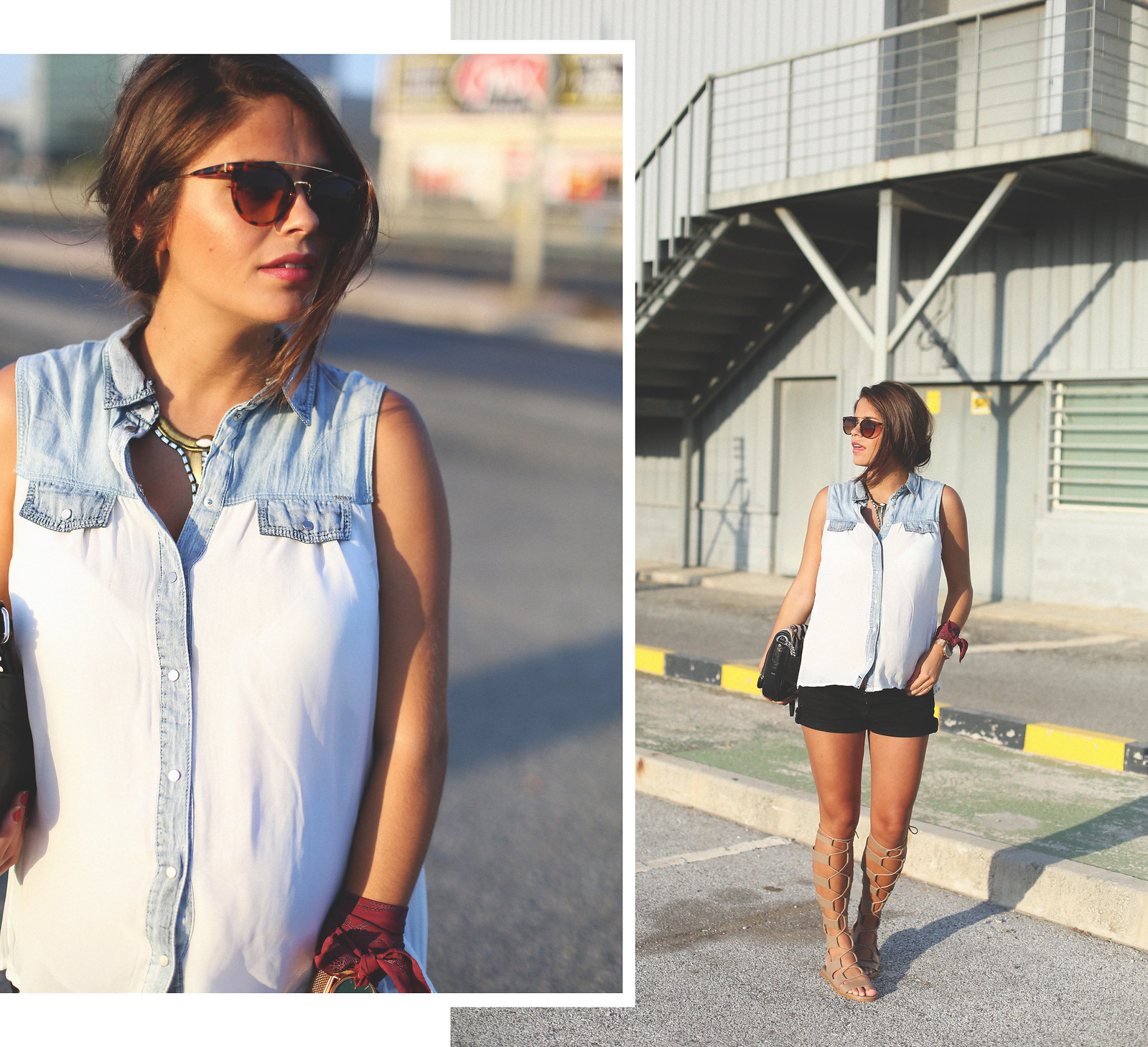 1. white denim vest black shorts sandals