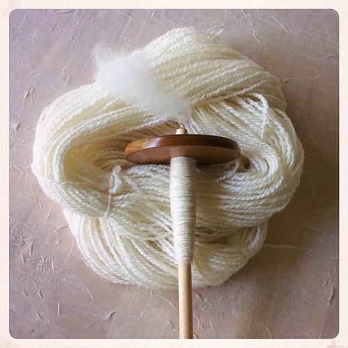 Tour de Fleece Cormo progress: 110 yards plied, next spindle begun! #tourdefleece #tourdefleece2015 #yarn #spindlespinning #spinnersofinstagram #igspindlers #handmade #handspun