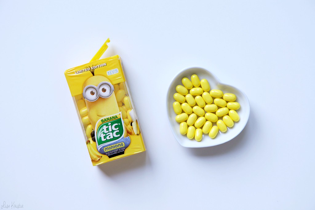 minion tic tac  banana flavor limited edition bright yellow review flavor taste europe belgium european version tic tacs box packaging 2015 the movie promitional brand new sealed kevin character