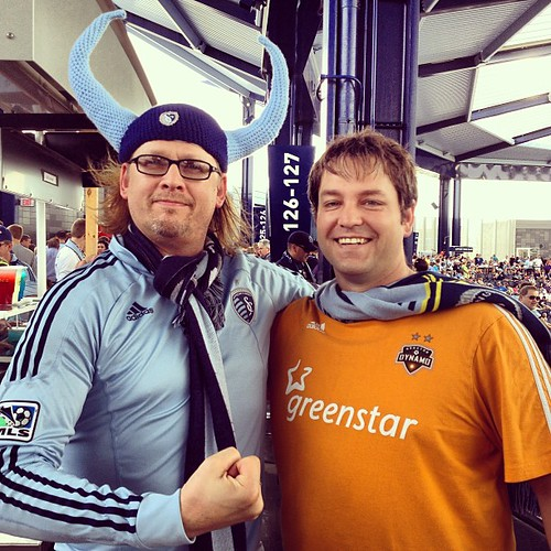 Can't throw a rock in this place without hitting a crazy person. This guy was actually pretty awesome. #sportingkc #dynamo