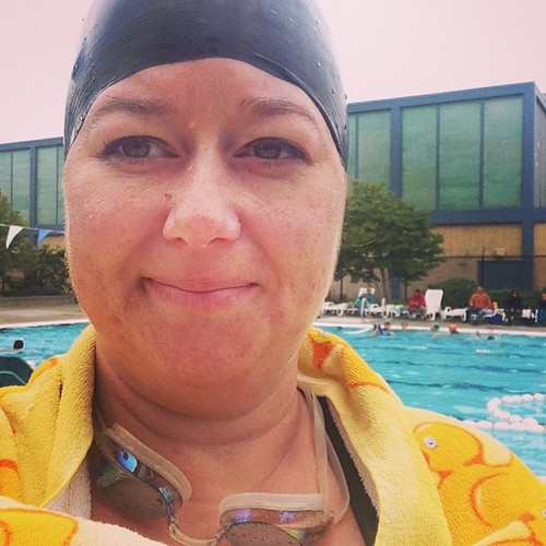 Outdoor swimming time! Last day for my swim cap though. I can see it starting to tear :(
