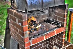 outdoor grill, masonry oven, wood, iron, brick, brickwork,