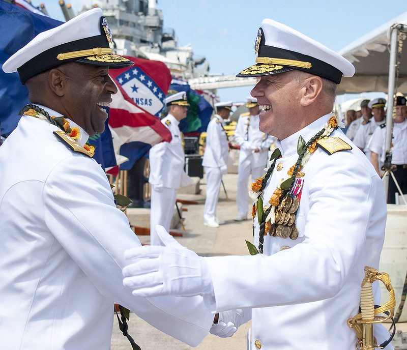 JOINT BASE PEARL HARBOR-HICKAM - Commander, Navy Region Hawaii and Naval Surface Group Middle Pacific held a change of command ceremony July 10 at the Battleship Missouri Memorial in Pearl Harbor.