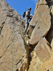 Crux Downclimb From Summit of Sneffels