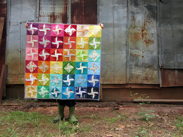 Rainbow Tilt-a-whirl baby quilt