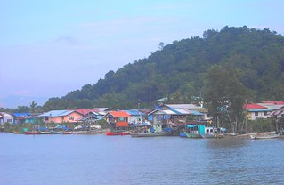 Fishing village near Kuching in Malaysia. On the island of Borneo.