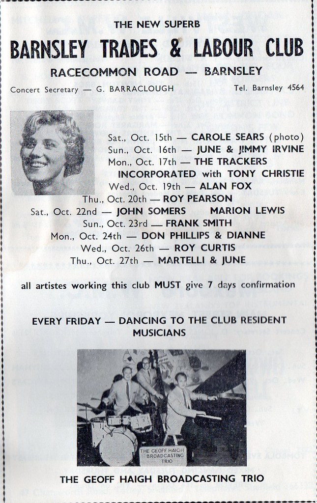 Barnsley Trades & Labour Club Oct 1966