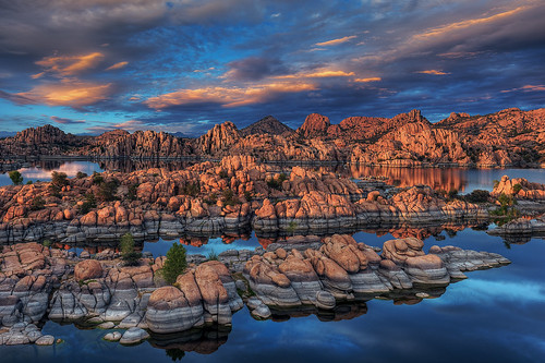 sunset arizona nature water clouds landscape nikon rocks day desert cloudy geology nikkor hdr prescott watsonlake americansouthwest