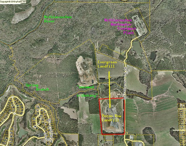Location of proposed pipeline from Evergreen Landfill to Pecan Row Landfill