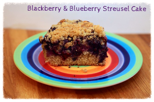 Blackberry & blueberry streusel cake