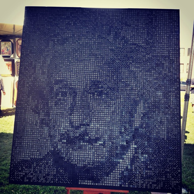 Albert Einstein Made of Dominoes