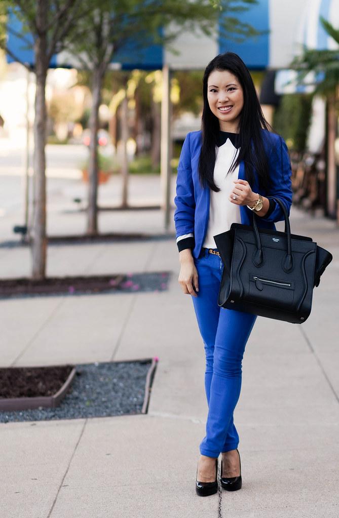 cobalt suit, cobalt blazer, cobalt pants, leopard print belt, celine mini luggage tote outfit #ootd