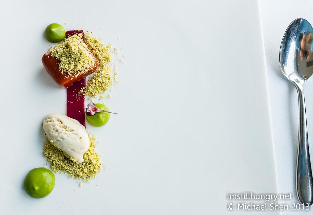 Yoghurt bavarois w/sichuan pepper ice cream, poached rhubarb & basil emulsion berowra waters inn