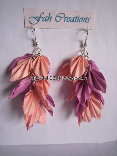 Handmade Jewelry - Origami Paper Leaves Earrings (10) by fah2305