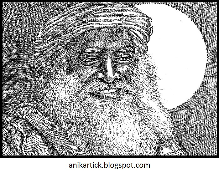 Sadhguru jaggi vasudev art 02 by artist anikartickchennaiindia