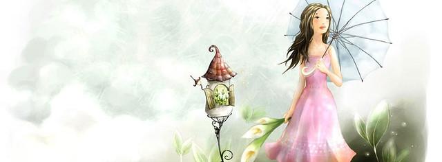 Girl With Umbrella Art Facebook Cover Photo