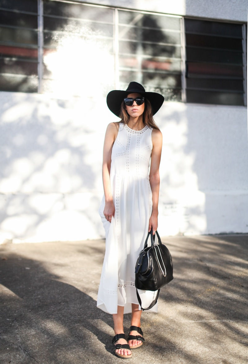 74214fab244e modern legacy fashion blog style blogger white maxi dress summer street  style birkenstock sandals wide fedora
