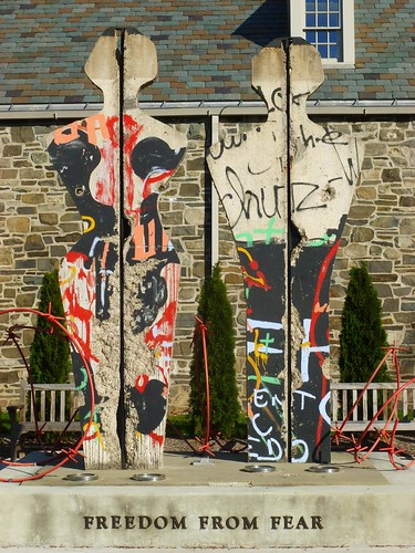 """Freedom from Fear,"" sculpture made from cutouts of sections of the Berlin Wall, photo by gwenvasil, FDR Home & Presidential Library Hyde Park, NY, October 20, 2013."