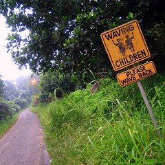 An odd sign that we saw along the road going to Eden Nature Park in Davao. Apparently there are waving children and you are supposed to wave back at them. There were no kids in sight, no houses, no schools. Creepy. #eden #davao #davaocity #vacation #roads