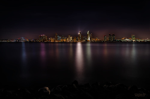california city light skyline reflections lights harbor san diego shore hdr ussmidway