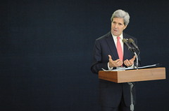 Secretary Kerry Addresses Reporters During Tel Aviv News Conference