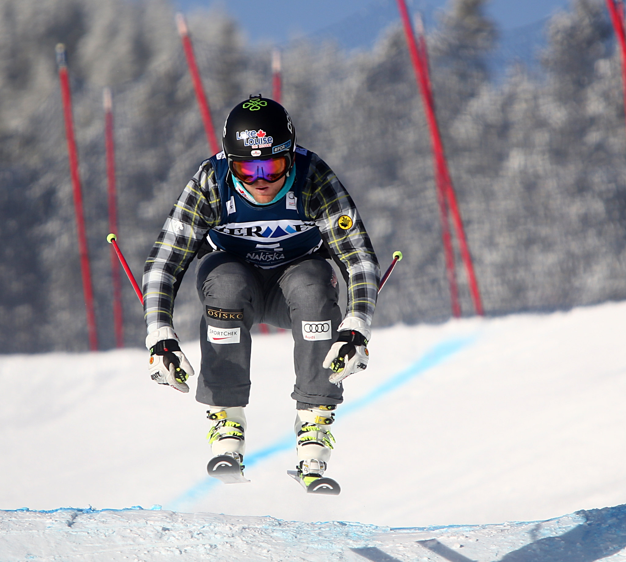 Brady Leman in action during training at the FIS Ski Cross World Cup in Nakiska, CAN