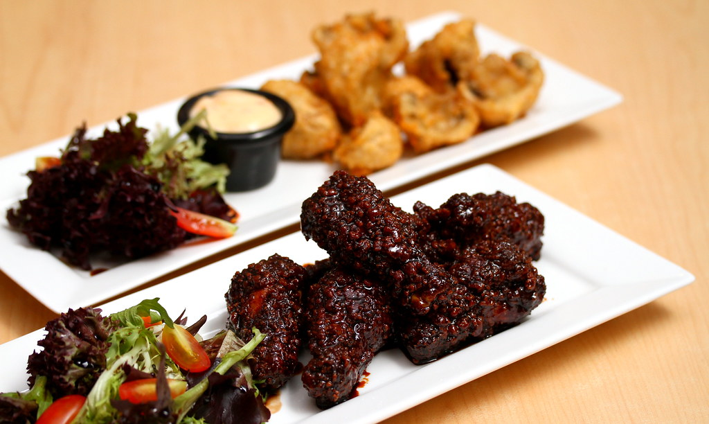 Rokeby: Mushroom Fritters & Vegemite Glazed Chicken
