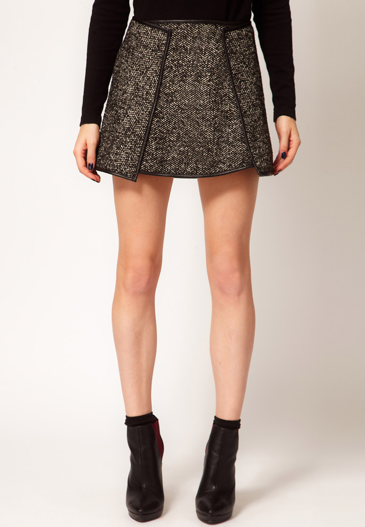 ASOS Tweed Skirt with Leather Look Trim