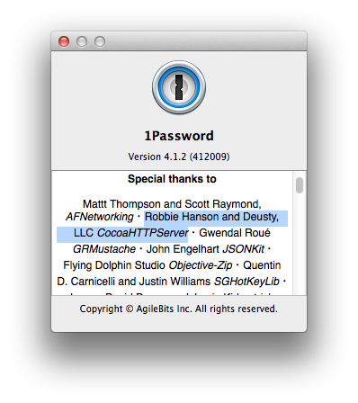 1Password Credits