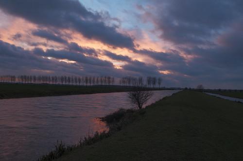 sunset night cloudy polderhethooghhemaelpolderhethooghhemaelhertogsweteringwinderigwindystormynamiddagafternoonwinderigenamiddagzonsondergangsunsetgolventheafluentscalledhertogsweteringandrodewetering inthepoldershethooghhemaelandhetlaaghhemael withthesilhouetteofabravetreeintheforeground
